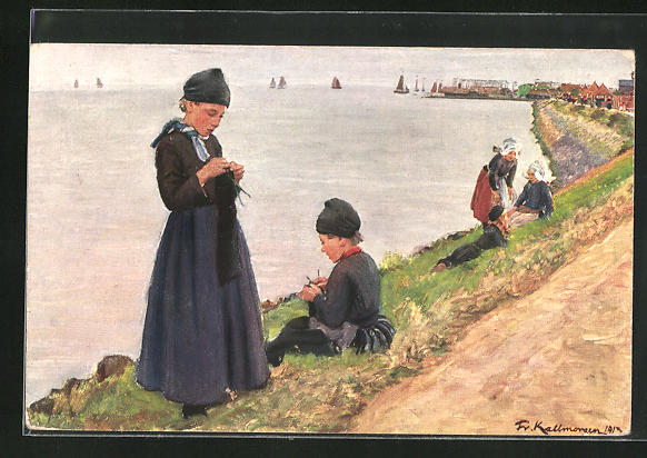 Künstler-AK Friedrich Kallmorgen: Junge Frauen am Ufer bei der Handarbeit