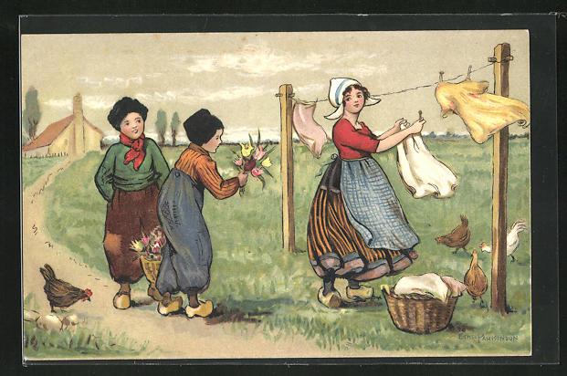 Künstler-AK Ethel Parkinson: Niederländische Frau hängt die Wäsche auf