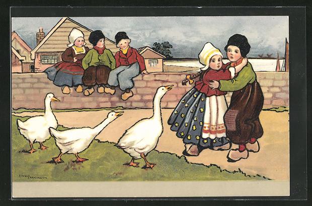 Künstler-AK Ethel Parkinson: Kinder in holländischer Tracht und Gänse