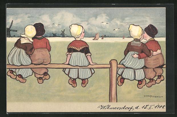 Künstler-AK Ethel Parkinson: Niederländische Kinder in Tracht auf Zaun