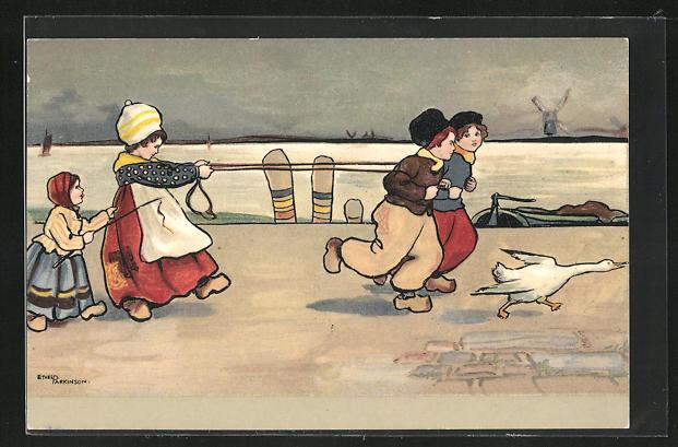 Künstler-AK Ethel Parkinson: Holländische Kinder spielen an einem Ufer