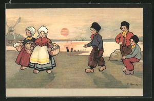 Künstler-AK Ethel Parkinson: Niederländische Knaben und Mädchen in Tracht
