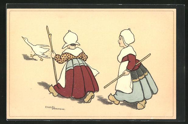 Künstler-AK Ethel Parkinson: Zwei Niederländische Gänsemägde
