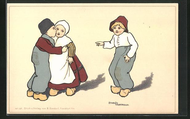 Künstler-AK Ethel Parkinson: Junger Holländer küsst seine Frau auf die Wange, ein anderer zeigt auf sie