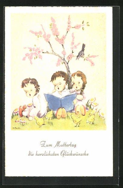 Künstler-AK Hilla Peyk: Kinder mit einem Buch sitzen unter einem Baum, Glückwunsch zum Muttertag