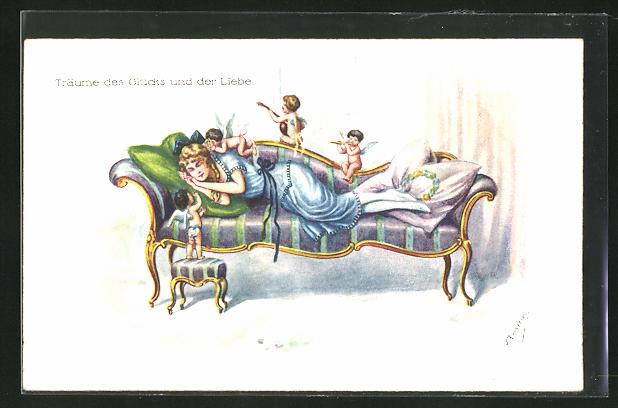 Künstler-AK Friedrich Kaskeline: Träume des Glücks und der Liebe, Englein beschützen auf der Couch schlafende Dame