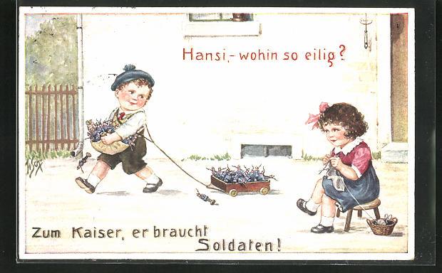 Künstler-AK Willi Scheuermann: Strickendes Mädchen beobachtet den Jungen mit den Spielzeugsoldaten