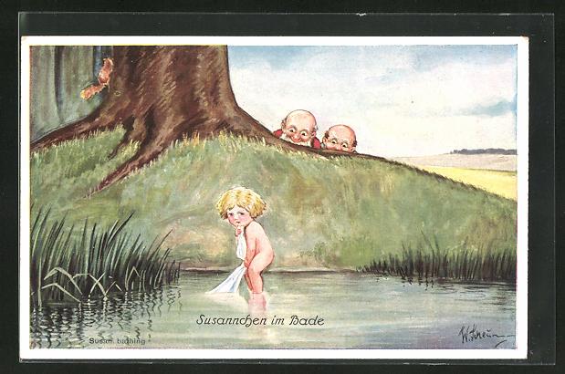 Künstler-AK Willi Scheuermann: Männer beobachten das nackte Mädchen beim Baden, Susannchen im Bade