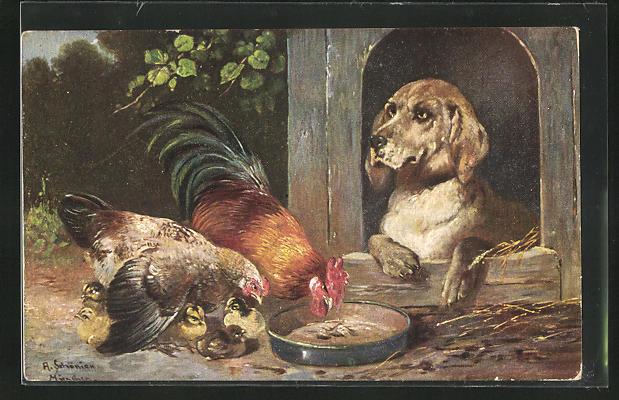 Künstler-AK Alfred Schönian: Hund in der Hundehütte beobachtet die Hühnerfamilie beim Körnerpicken