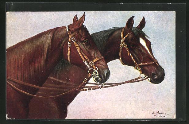 Künstler-AK Alfred Schönian: Pferde mit Zaumzeug