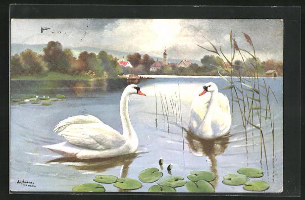 Künstler-AK Alfred Schönian: Schwanenpaar auf einem See