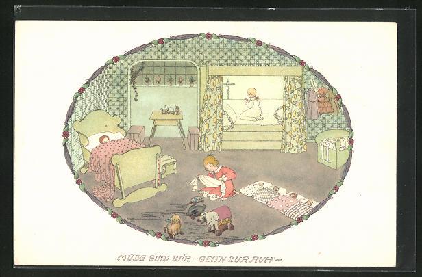 Künstler-AK Mela Köhler: Mädchen bringt ihre Puppen ins Bett, Kind beim Abendgebet und schlafendes Kind im Bett