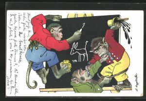 Künstler-AK Meggendorfer Blätter Nr. 265: Vermenschlichte Affen an der Schultafel