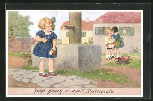 Künstler-AK Franz Jüchtzer: Mädchen am Brunnen beobachtet die flüsternden Freundinnen