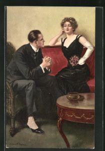 Künstler-AK Clarence F. Underwood: Mann und Frau unterhalten sich im Wohnzimmer