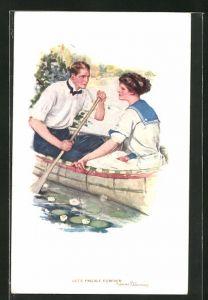 Künstler-AK Clarence F. Underwood: Junges Paar paddelt im Ruderboot, Let`s paddle forever