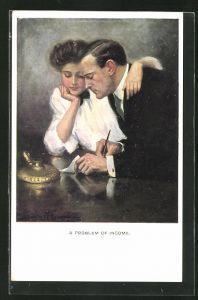 Künstler-AK Clarence F. Underwood: Mann und Frau betrachten eine schriftliche Aufstellung