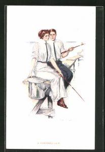 Künstler-AK Clarence F. Underwood: Junges Paar angelt von einem Steg aus
