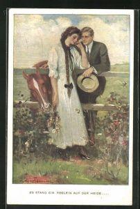 Künstler-AK Clarence F. Underwood: Paar mit Pferd in vertrautem Gespräch an der Koppel