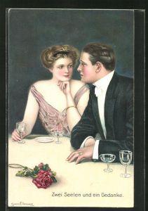 Künstler-AK Clarence F. Underwood: Verliebtes Paar in Abendkleidung schaut sich verträumt in die Augen