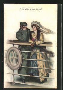 Künstler-AK Clarence F. Underwood: Junges Paar lehnt an der Reling eines Schiffes, Dem Glück entgegen!