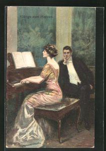 Künstler-AK Clarence F. Underwood: Junger Mann lauscht der Dame am Klavier, Klänge zum Herzen