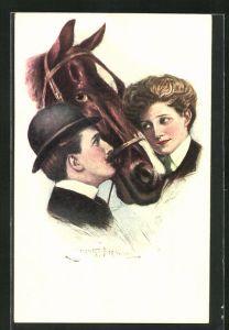 Künstler-AK Clarence F. Underwood: Junges Paar betrachtet einander mit einem Pferdekopf zwischen sich