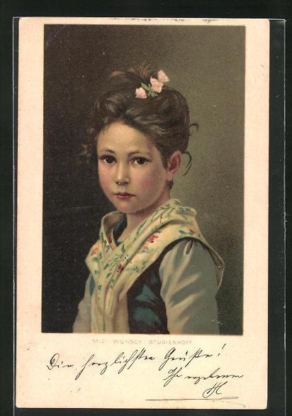 Künstler-AK Mizi Wunsch: Mädchen mit Blumen im Haar, Studienkopf