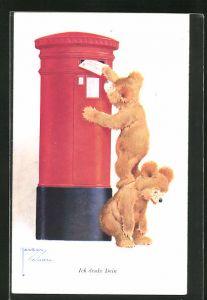 Künstler-AK Lawson Wood: Bär wirft einen Brief in den Briefkasten