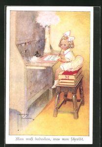 Künstler-AK Lawson Wood: Kleines Mädchen sitzt am Sekretär und grübelt über einen Brief