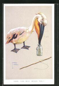 Künstler-AK Lawson Wood: Pelikan will die Stichlinge im Glas des Anglers stibitzen