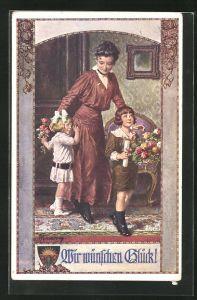 Künstler-AK Franz Kuderna: Deutscher Schulverein Nr. 827: Kinder bringen der Mutter Blumen, Wir wünschen Glück
