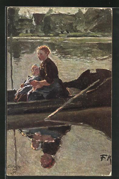 Künstler-AK Friedrich Kallmorgen: Mutter rudert mit ihrem Kind über den See