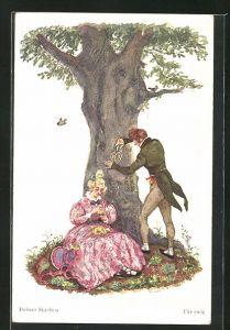 Künstler-AK Helmut Skarbina: Junger Mann ritzt die Initialen seiner Liebsten in einen Baum, Für ewig