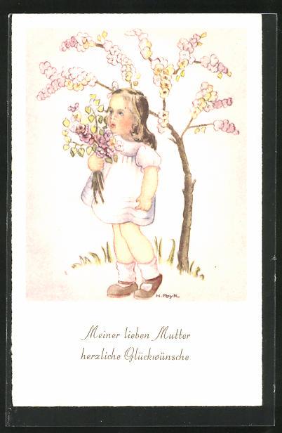 Künstler-AK Hilla Peyk: Mädchen mit Blumenstrauss, Glückwünsche zum Muttertag
