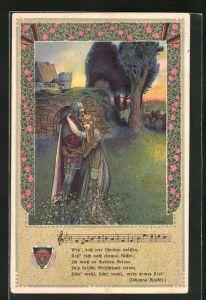 Künstler-AK T. Welzl: Ritter verabschiedet sich von seiner Liebsten
