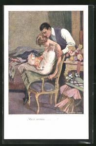 Künstler-AK Robert Sedlacek: Mann betrachtet die schlafende Dame mit dem Kätzchen
