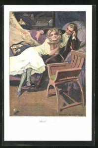 Künstler-AK Robert Sedlacek: Frau schmiegt sich im Schlafzimmer an ihr Äffchen und der Mann schaut zu