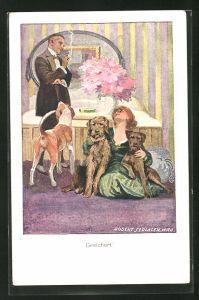 Künstler-AK Robert Sedlacek: Mann betrachtet die Frau mit ihren drei Hunden im Schlafzimmer, Gesichert!
