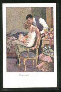 Künstler-AK Robert Sedlacek: Mann betrachtet die schlafende Frau mit ihrer Katze im Schlafzimmer