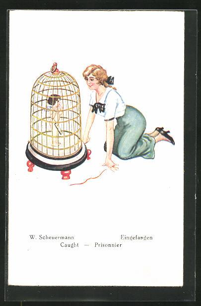 Künstler-AK Willi Scheuermann: Junge Frau betrachtet den im Käfig eingesperrten Amor
