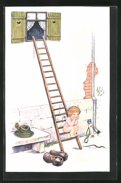 Künstler-AK Willi Scheuermann: Amor sitzt auf der Leiter vor dem Haus