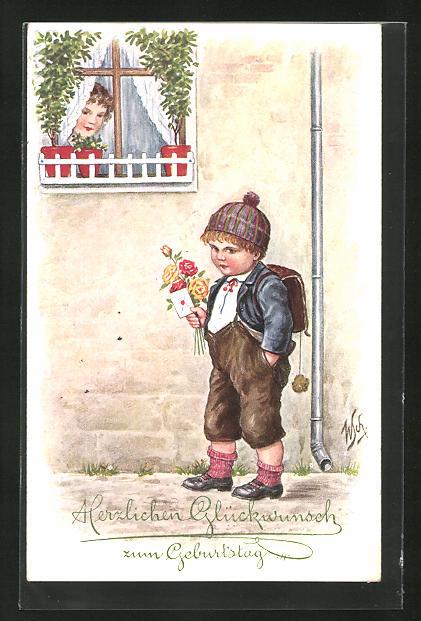 Künstler-AK Willi Scheuermann: Junge wartet mit Blumen und Brief vor dem Haus, Glückwunsch zum Geburtstag