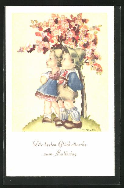 Künstler-AK Hilla Peyk: Glückwünsche zum Muttertag, kleines Paar unter blühendem Baum