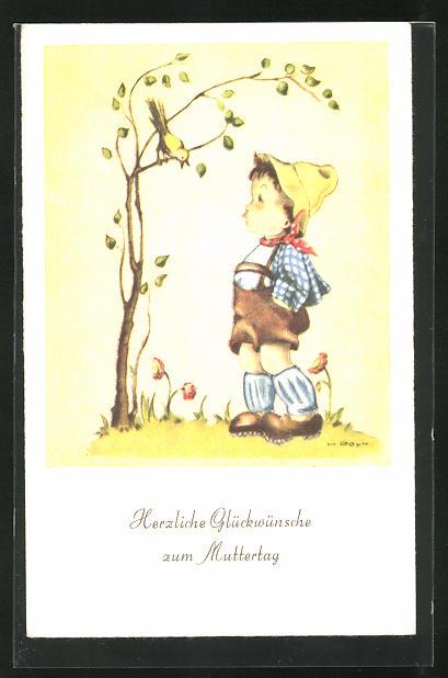 Künstler-AK Hilla Peyk: Glückwünsche zum Muttertag, Bub und Vogel