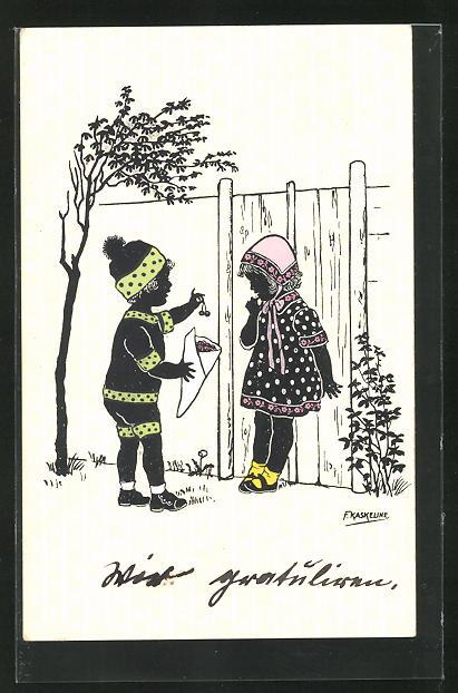 Künstler-AK Friedrich Kaskeline: kleines Paar mit Kirschen, Silhouetten
