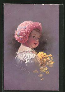 Künstler-AK Ludwig Knoefel: kleines Mädchen mit Haube und Butterblumen