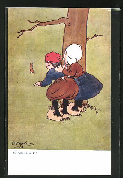 Künstler-AK George Edward Shepheard: Fürchte nichts!, Scherz, kleines Paar beobachtet Hasen