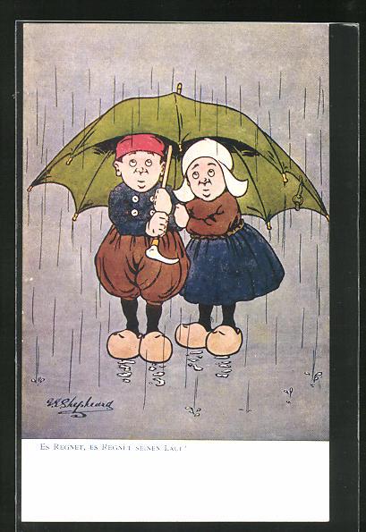 Künstler-AK George Edward Shepheard: Es regnet, es regnet seinen Lauf!, Scherz, kleines Paar unter Schirm