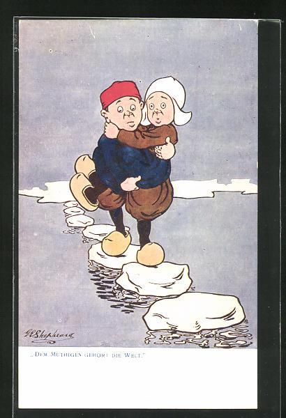 Künstler-AK George Edward Shepheard: Dem Mutigen gehört die Welt, Scherz
